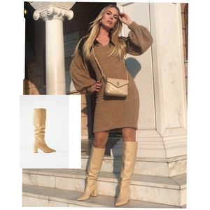 Zara leather mid heel boots